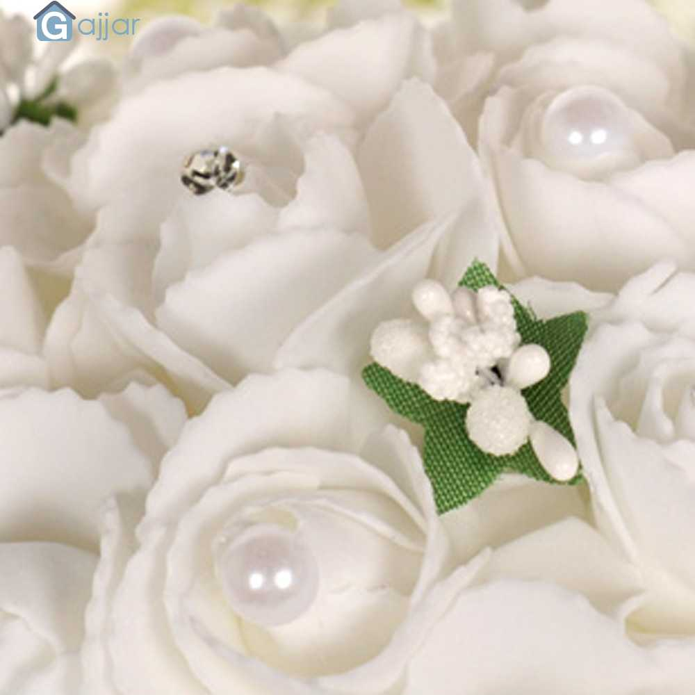 Bridal accessory Crystal Roses Pearl Bridesmaid Wedding Bouquet Bridal Artificial Silk Flowers Party Decor DropshipingJuly30 p45