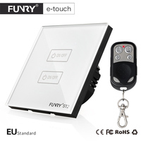 Funry EU Standard 2 Gang Wireless Touch Remote Control Wall Light Switch Smart Home AC110 250V