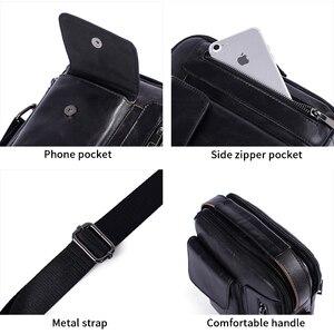 Image 4 - Westal masculino bolsa de ombro pequena aba zíper crossbody sacos de couro genuíno para homens bolsa masculina mensageiro sacos 8211