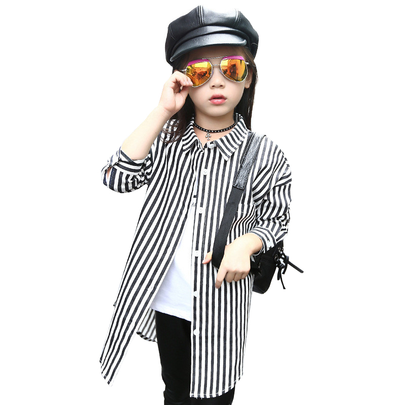 2016 Autumn Winter Style Girls Cotton Striped Printed Blouse School Girl Blouse Girls Long Shirts Kids Clothes Blouses