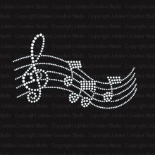 FS (3pc/lot) Music Melody Iron On Rhinestone Crystal hot fix rhinestone motif iron on transfers transfer design