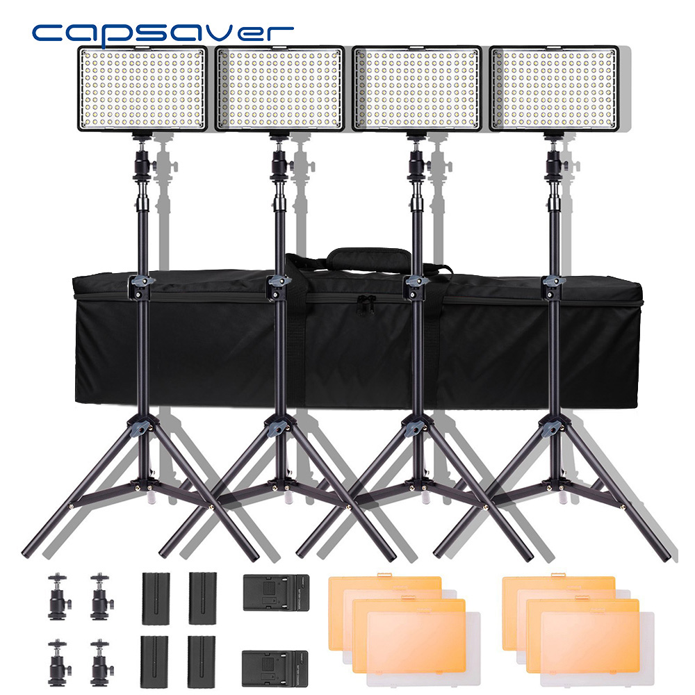 Capsaver TL-160S 4 Sets LED Video Light Photographic Lighting 5600K CRI85 Studio Light For YouTube Photo Shoot LED Lamp Panel