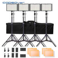 Capsave TL-160S 4 juegos de luz de vídeo LED iluminación fotográfica 5600K CRI85 Luz de estudio para YouTube sesión de fotos Panel de lámpara LED