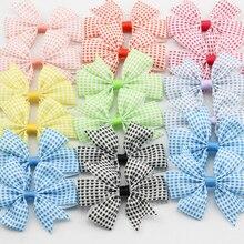 3 2 Plaid Ribbon Bows Tartan Hair accessories for Children Checkered pattern Baby Girls Hair clip