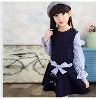 Children's Garment 2017 New Children's Girl Children Pure Cotton Spelling Stripe Princess Dress