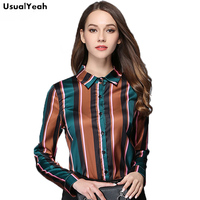 UsualYeah Autumn Women Blouse Fashion Striped Long Sleeve Shirt Office Wear Blusas Elegant Contrast Color Ladies