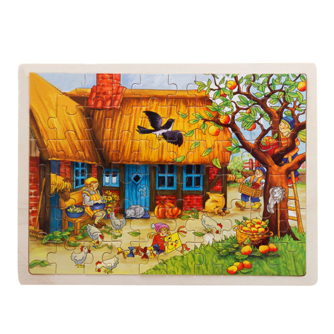 60 Pieces Wooden Jigsaw Puzzle Apple Tree Farm Animals Baby Kids Educational Toys For Children  Brain Teaser  Wooden Toys
