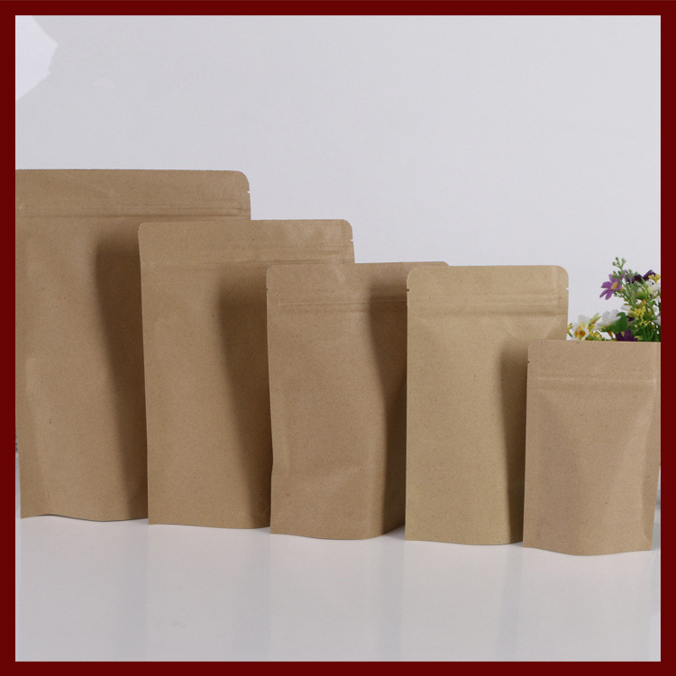 15 24 4 100pcs Brown Self Zip Lock Kraft Paper Bags Stand Up For