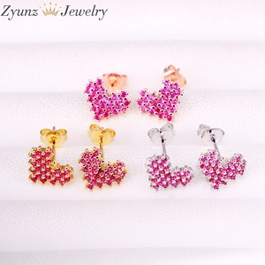 Image 1 - 10Pairs, 10*9mm, Gold filled Jewelry Earrings Heart Shape rose red cz micro pave Stud Earring