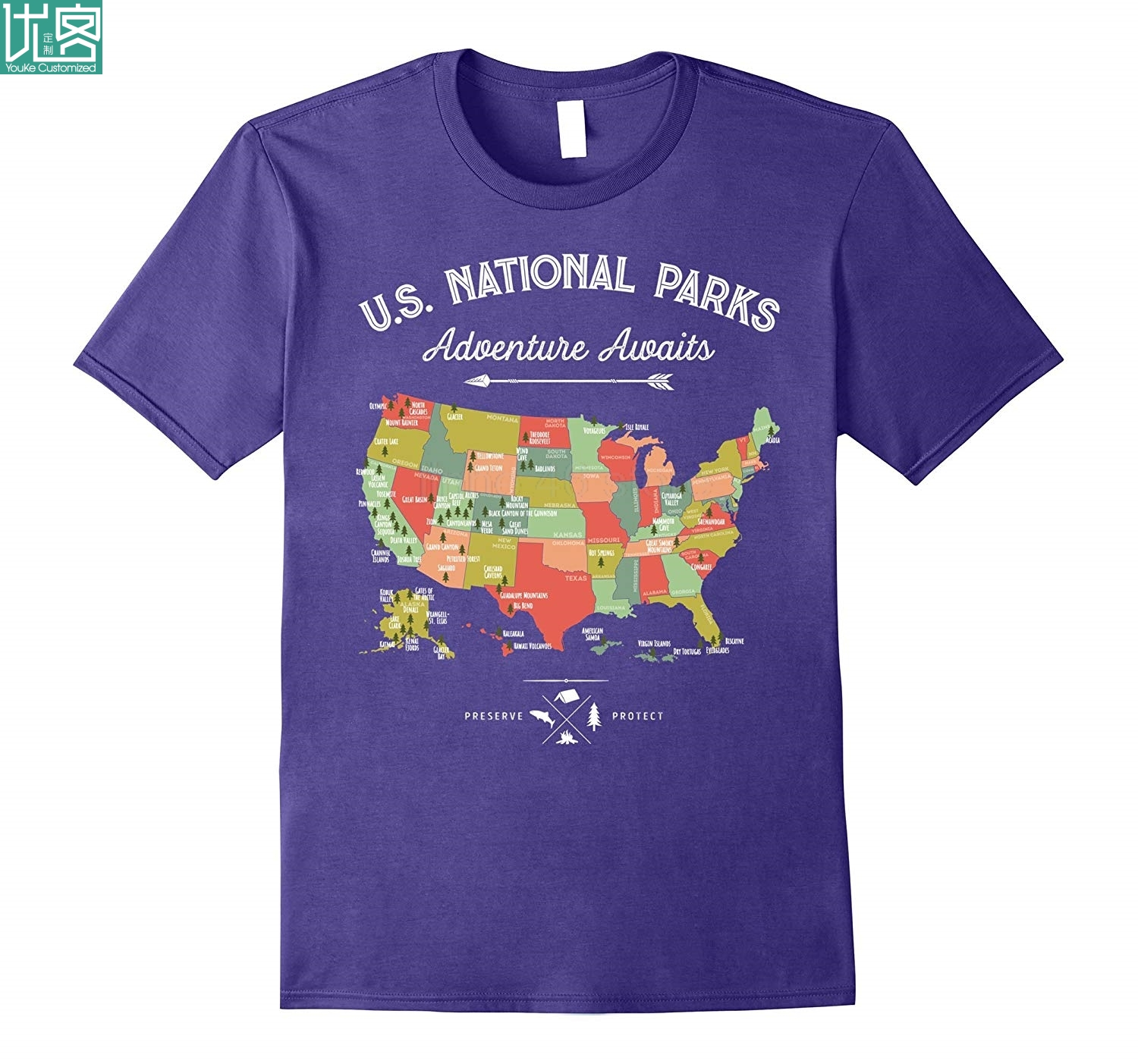 National Park Map Vintage T Shirt - All 59 National Parks Newest 2019 Fashion T Shirt image