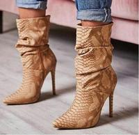 Sexy Woman Snakeskin Print Leather Ankle Boots Pointed Toe High Heels Wrinkled Skin Ridding Boots Big Size Fashion Shoes