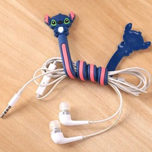 8PCS Long Cable Winder Cute Cartoon Animal Headphone Earphone Organizer Wire Holder Action Toy Figures Set