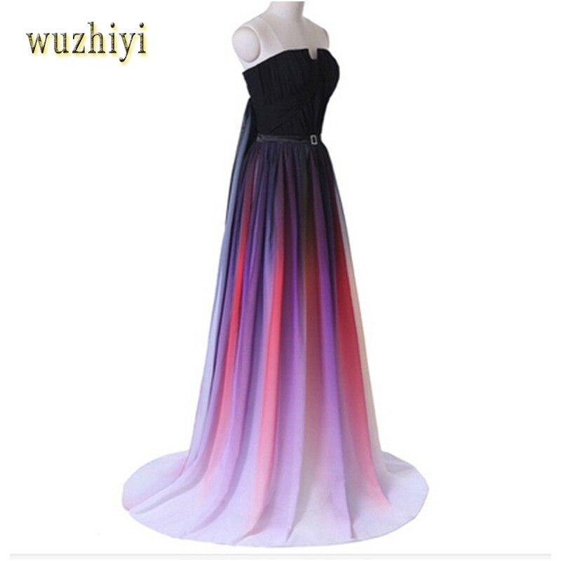 Wuzhiyi Coloré Longue Robes de Bal 2016 Formelle Femmes Occasion Spéciale Robes Réel Photos Sous 50 robes de fiesta Stock Vente