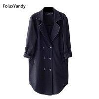 더블 브레스트 재킷 여성 새로운 브랜드 플러스 크기 3 XL 캐주얼 노치 느슨한 긴 재킷 아우터 블랙 OLL31-492