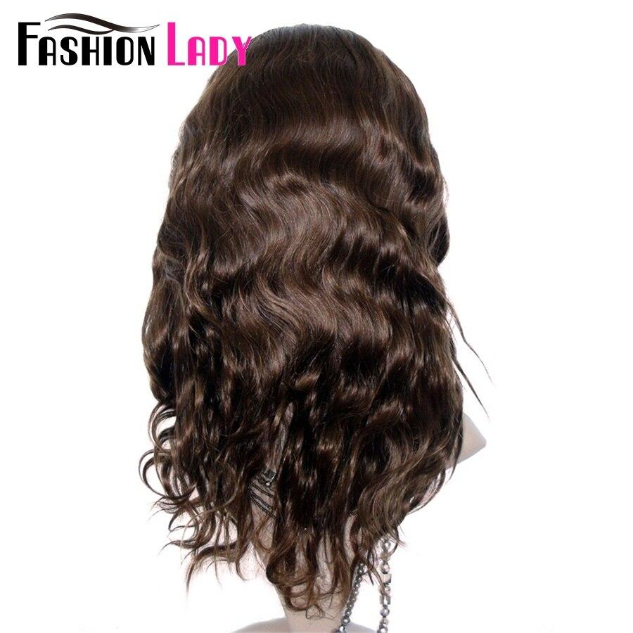 Mode dame brésilienne Remy cheveux 14 pouces 100% cheveux humains perruques 150% densité vague de corps dentelle avant perruque pour les femmes - 3