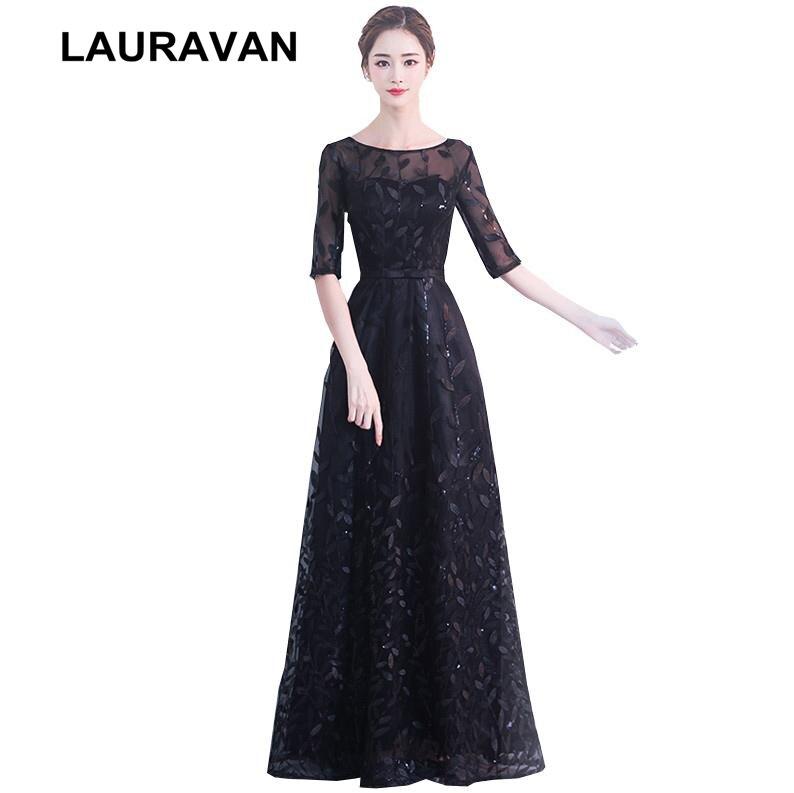 Robe de soirée élégante nouveauté demi manches robes de bal 2019 pour les femmes robes noires robe de fiançailles robe de mariée robe de bal