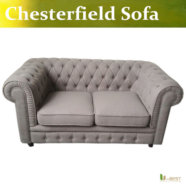 U-BEST the vintage chesterfield sofa with a luxury linen effect durable polyester fabric,chesterfield Couches 2 seat sofa