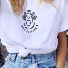 Holy Guacamole Cute Funny T-Shirt Women Tumblr Fashion Vegetarian Graphic Tee Avocado Taco Shirt White
