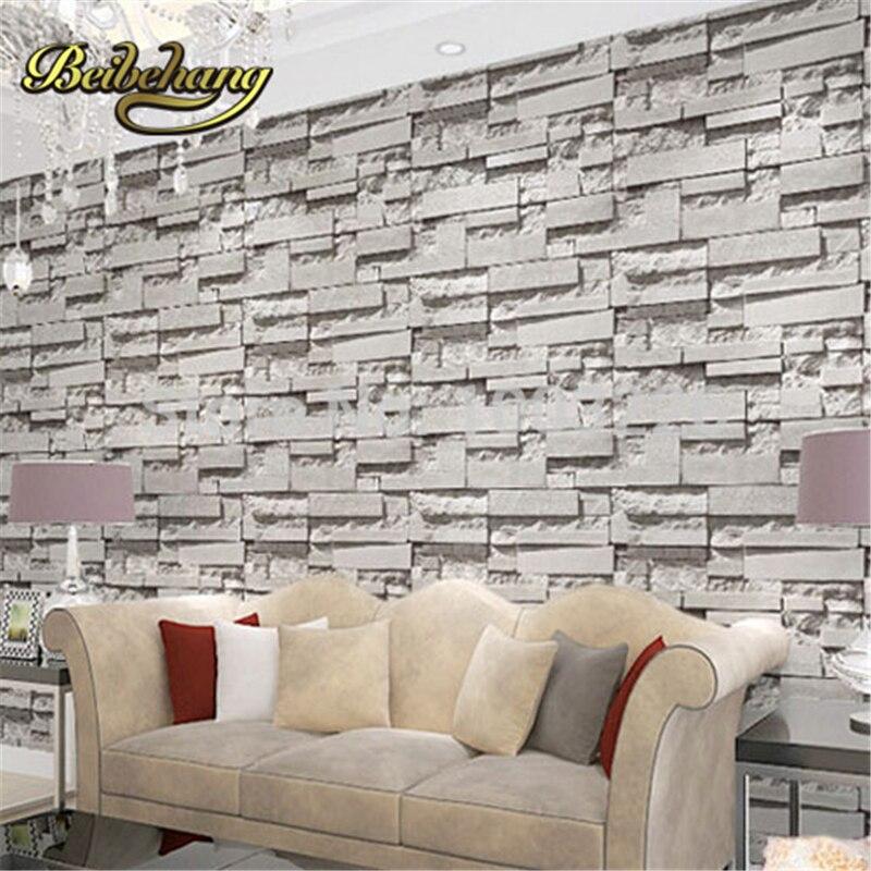 Beibehang Brique mur de pierre papier 3D PVC Fonds D'écran Moderne Salon Chambre Décor À La Maison Gris Vinyle Murale. Papel de parede