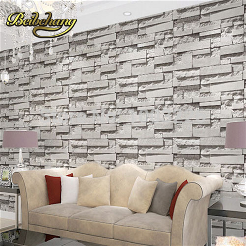 Buy beibehang brick stone wall paper 3d for Living room paper