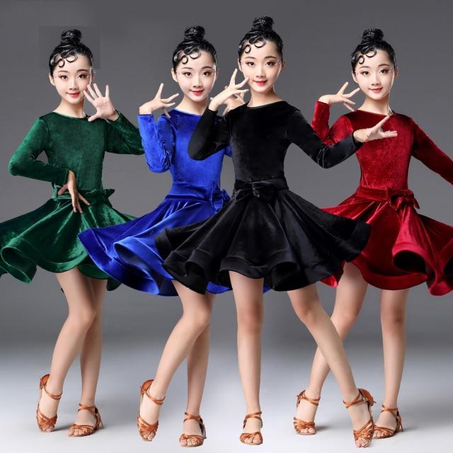 29759c3d9 Latin Dance Dress Children'S New Long Sleeve Velvet Professional Salsa  Samba Rumba Dresses For Girls Dancing