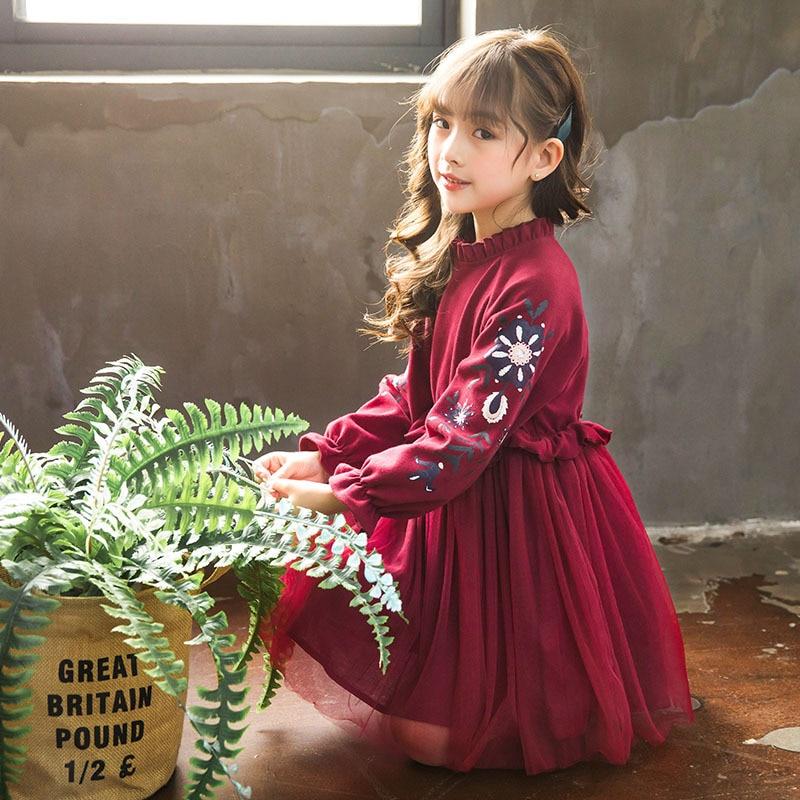 Новое платье для девочек; коллекция 2018 года; сезон осень; платье принцессы для малышей; детское платье в стиле пэчворк; милое детское платье