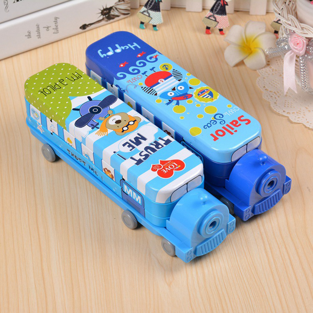 Creative Metal Pencil Case Train Shape Double Layers Pen Box With Pencil Sharpener Novelty School Supply Stationery Storage Bag one piece carton metal pen pencil holders double layers storage box stationery gift for children