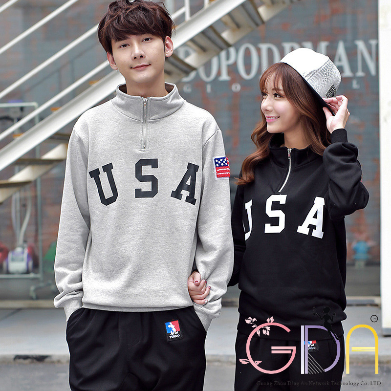 GDA 2016 New Lovers Couples Fashion Pullovers Printed USA Leisure Loose For Men and Women Solid
