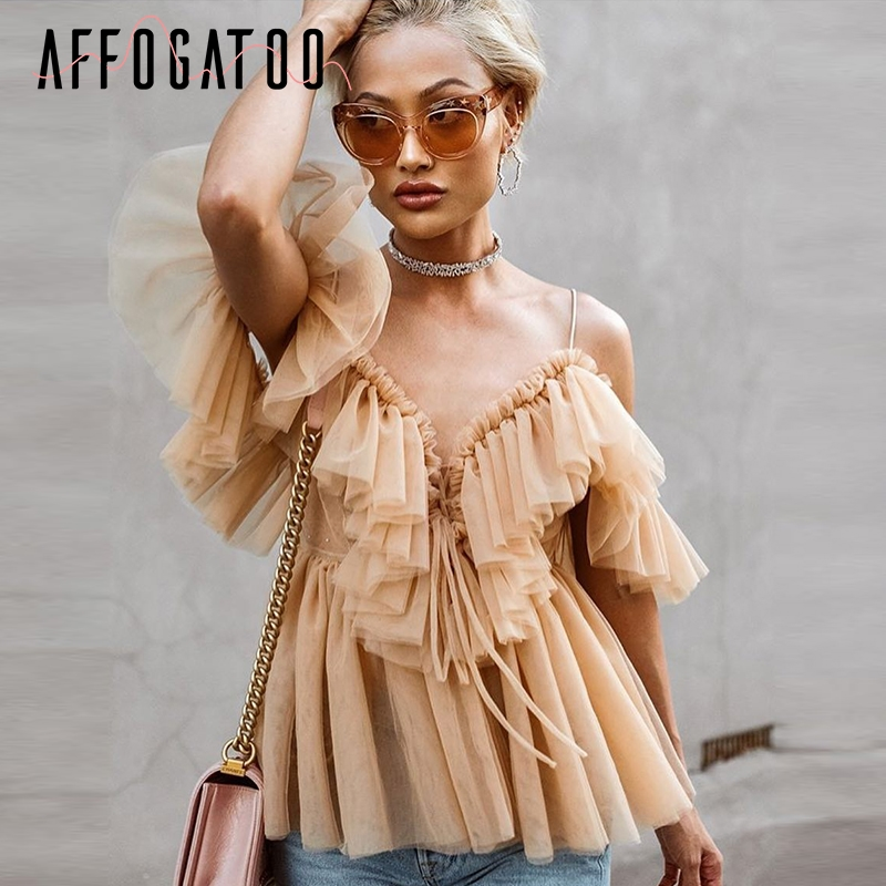 Affogatoo Sexy v neck off shoulder peplum blouse top Women Pleated vintage ruffle mesh blouse shirt Casual summer sleeveless top(China)