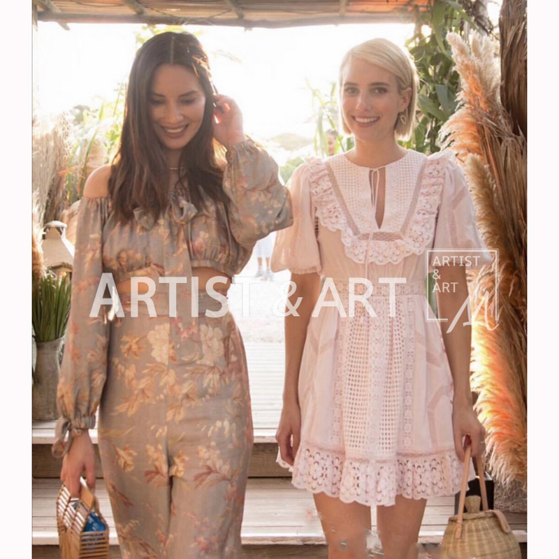 Svoryxiu Designer Summer Holiday Style Pink Dress Women s Elegant Hollow Out Embroidery Puff Sleeve Sweet