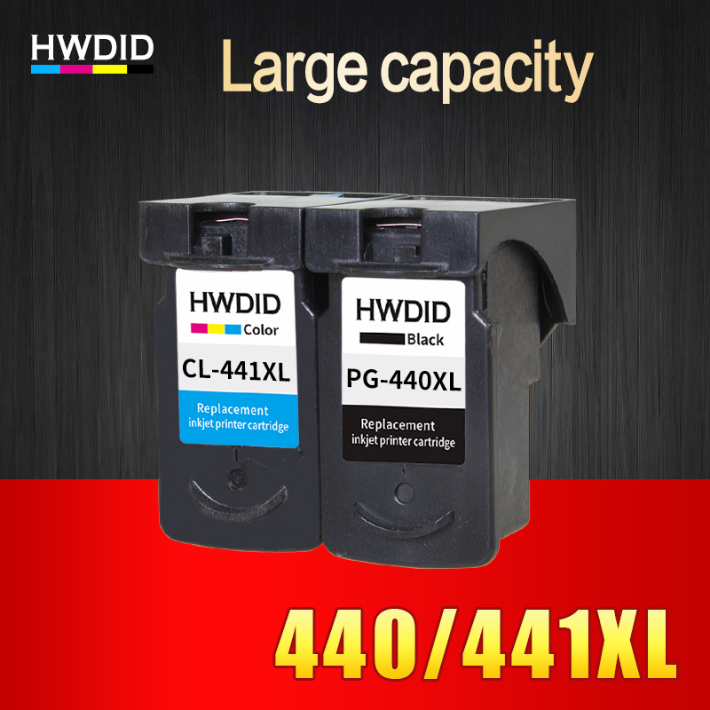 HWDID 2PK PG-440 CL-441 Xk Ink Cartk Replacement ar gyfer Canon PG440 tud 440 cl 441 ar gyfer PIXMA MX374 MX394 MX434 MX454 MX474 3540