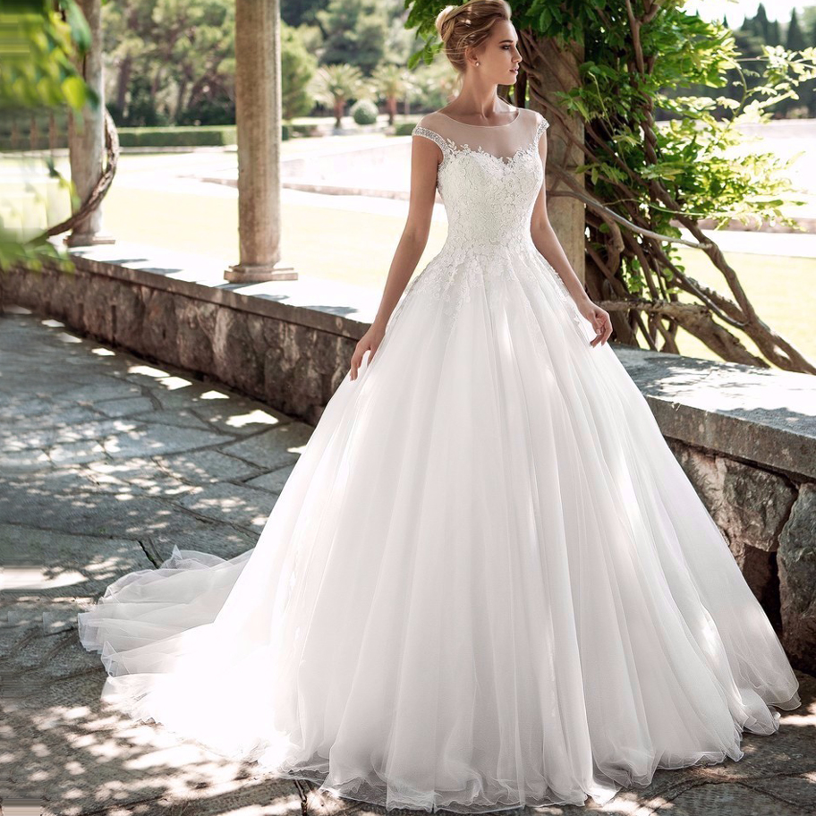 ADLN Gorgeous Scoop Cap Sleeves Wedding Dresses 2019 Soft Tulle Beaded Vestidos de Novia Princess Bridal