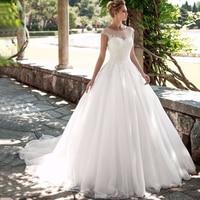 Gorgeous Scoop Cap Sleeves Ball Gown Wedding Dresses Soft Tulle Beaded Vestidos de Novia Princess Bridal Gown Customized