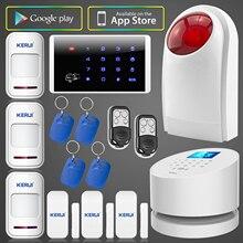 Wifi gsm sistema de alarma kerui hogar oficina tienda de alta calidad sucerity wifi gsm pstn sistema de alarma inalámbrico con keyboad flash sirena