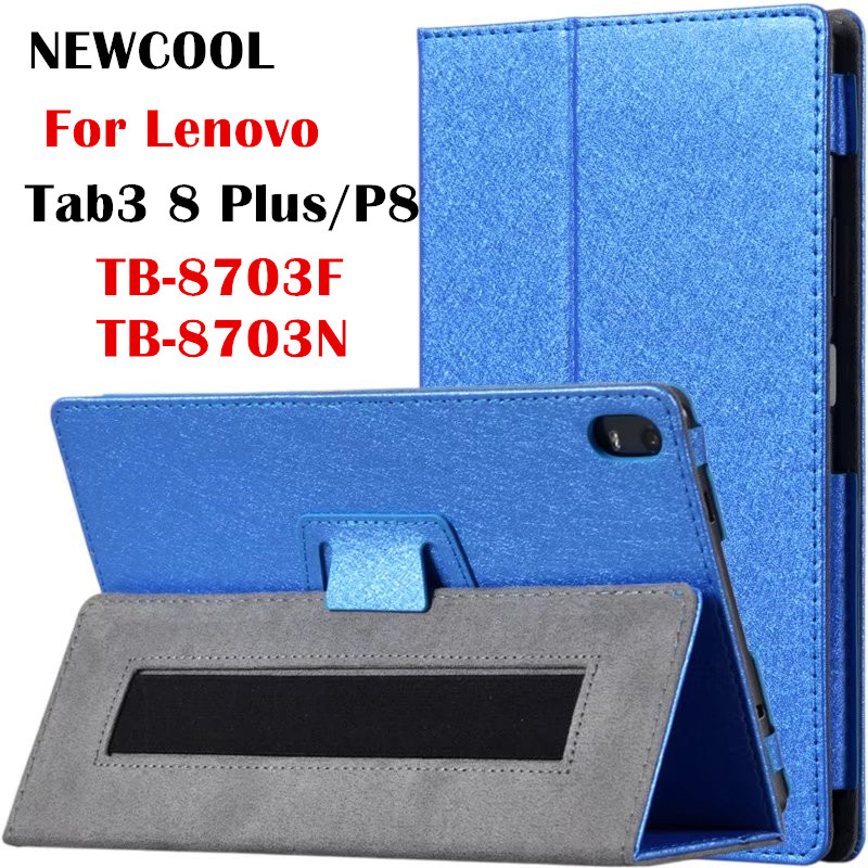 Silk PU Leather Case flip cover for Lenovo Tab 3 8 Plus 8inch Tablet Stand Protective Cover for Lenovo P8 TB-8703F (Tab3 8 Plus) floveme luxury flip stand case for samsung galaxy tab3 10 1 p5200 tab3 pu leather protective cover pouch bag black for tab 3