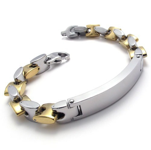 Width 10mm Titanium Steel Personalized Punk Rock Gold Shinning Chunky Bracelet for Men