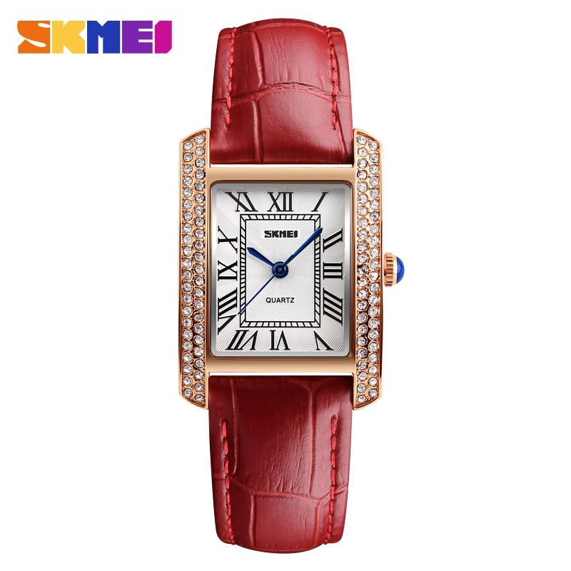 SKMEI Fashion Casual Business Women Quartz Watch Leather Strap Bracelet Female Wristwatch Relogio Feminino Reloj De Dama 1281