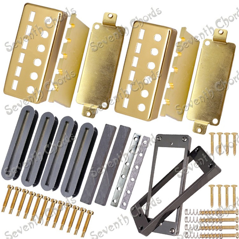 A Set Gold Electric guitar Humbucker Pickup Kits Producing Accessories with Black Plastic Pickup Ring 8 string guitar pickup set double coil humbucker for electric guitar black