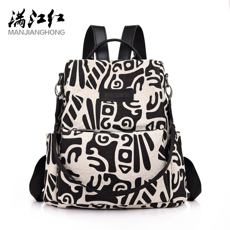 MANJIANGHONG Chinese Totem Backpack Bag Canvas Bag For Unisex New Fashion Bags Quality Student Bag Casual Wild Travel Backpack