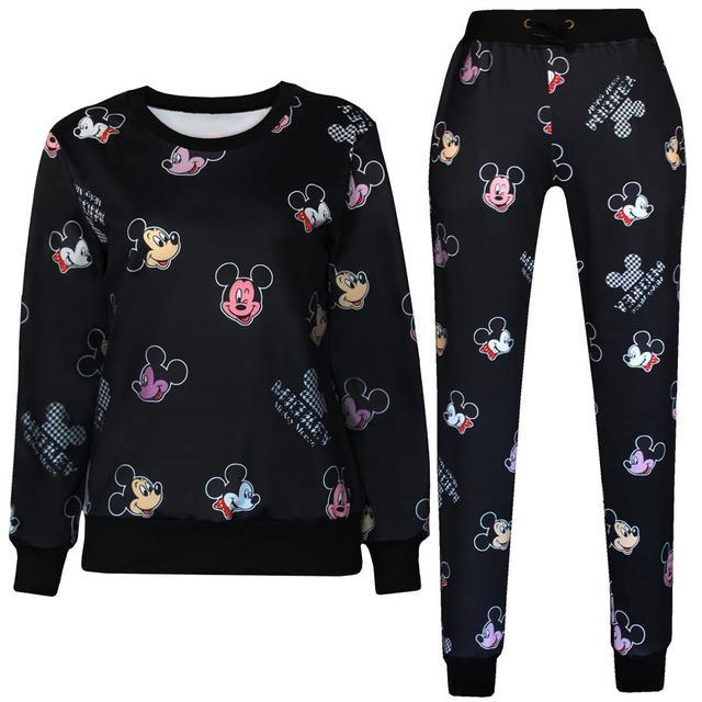 891f6b4890de men women 3D emoji jogger set Sport Suit Black Cute Mouse Print Black  Sweatshirt outfit emoji