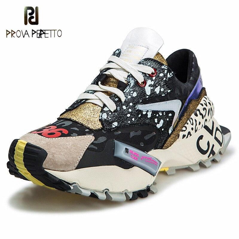 Ayakk.'ten Vulkanize Kadın Ayakkabıları'de Prova Perfetto 2019 Sneakers Kadın Moda Tıknaz Baba Ayakkabı Kadın Moda Kalın Taban Bayanlar Platformu Ayakkabı Bağcıkları zapatillas mujer'da  Grup 1