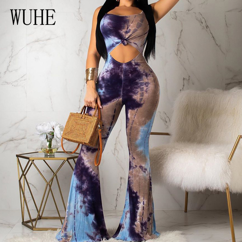 WUHE High Quality Women 39 s Halter Printed Flare Jumpsuits Sexy Hollow Out Backless Retro Playsuits Wome Summer Elegant Club Wear in Jumpsuits from Women 39 s Clothing