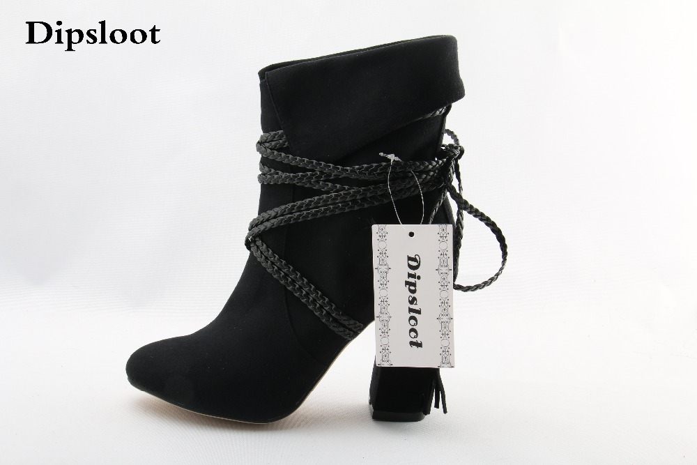 Spring New Brand Women Black Suede Rope Lace Up Round Toe Square Heels Mid-calf Short Boots Slip On Fold Booties Ladies