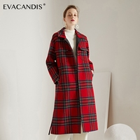 Red Plaid Wool Coat Handmade Long Double Faced Elegant Office Designer Autumn Winter Warm Single Breasted Woolen Overcoat