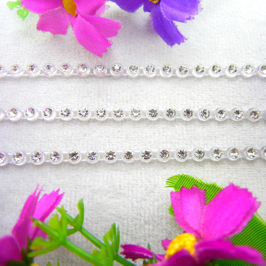 5 sizes crystal clear rhinestone nice 3 Colors Sew On glue on Plastic rhinestone chain string applique shoes diy trimming