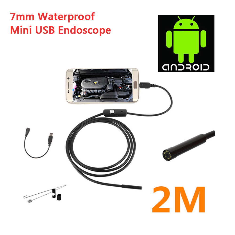 Hight Quality 7mm 1M/2M USB Android Endoscope Waterproof Mini USB Endoscope Inspection Camera Borescope With 6 LED Borescope eyoyo nts200 endoscope inspection camera with 3 5 inch lcd monitor 8 2mm diameter 2 meters tube borescope zoom rotate flip