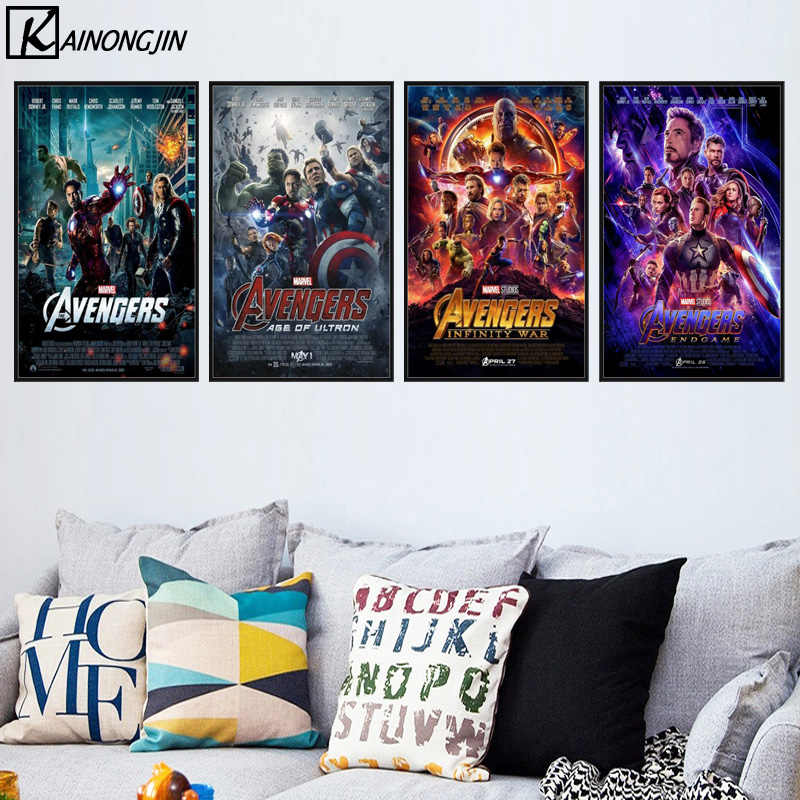 Avengers 1 2 3 4 ENDGAME Movie Poster Superhero Captain Iron man Marvel Posters and Prints Canvas Painting Wall Art Home Decor