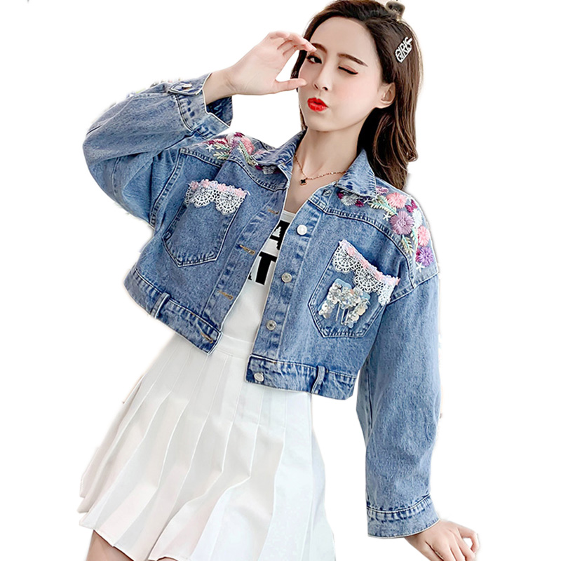 Fashion New Arrival Denim   Jackets   Embroidered flowers Single Breasted Coat Female Jean   Jacket   For Outerwear Women   Basic   Coats