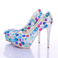 Blue rhinestone bridal shoes women ultra high heels platform shoes round toe shallow mouth performance shoes red sole