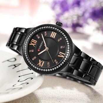 CURREN Brand Luxury Women's Casual Watches Waterproof Wristwatch Women Fashion Dress Rhinestone Stainless Steel Ladies Clock 6